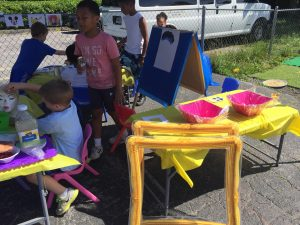 Children Painting with Friends