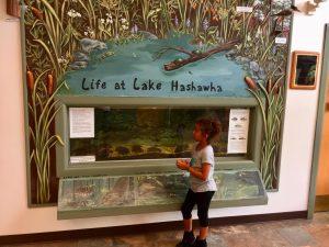 "Children Standing in Front of ""Life At Lake Hashawsha."""