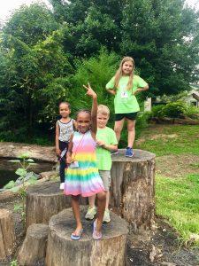 Four Children Standing On Tree Stump